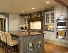 gray walls, island, mix of paint/stain on cabinets, double oven