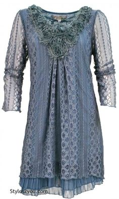 AP Claire Lace Tunic In Blue