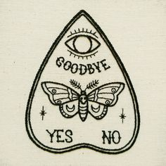 PDF pattern - Ouija Planchette with Moth - Butterfly detail Hand Embroidery Pattern (PDF pattern - modern embroidery pattern) Embroidery Materials, Modern Embroidery, Embroidery Patterns, Hand Embroidery, Embroidery Stitches, Beginner Embroidery, Geometric Embroidery, Embroidery Tattoo, Machine Embroidery