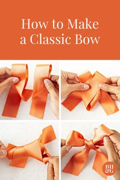 5 Quick and Easy DIY Bows that Will Instantly Upgrade Any Package Learn how to make a bow (or three!) to create gorgeous gifts. We'll show you how to tie three different bows -- classic, layered, and rosette -- with ribbon. Tie Bows With Ribbon, Make A Bow Tie, How To Tie Ribbon, Diy Bow, Diy Ribbon, Ribbon Crafts, How To Make Bows, Ribbon Flower, Fabric Flowers