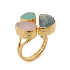 Rose Quartz, Aqua Chalcedony and Labradorite Ring by Ottoman Hands