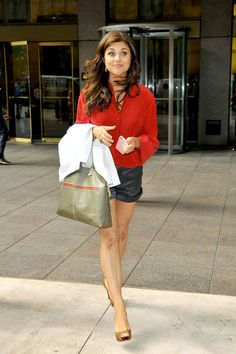 Tiffani Thiessen 'White Collar' star Tiffani Thiessen leaves Sirius Radio in NYC wearing a red blouse, shorts and nude heels.
