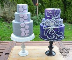 Blue and purple fondant cakes