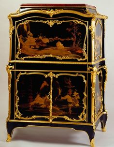 "1755-1765 French Secrétaire in the Royal Collection, UK - From the curators' comments: ""A drop-front secretaire of oak veneered in ebonised wood and decorated with Japanese lacquer panels of lakeside scenes in relief, each surrounded by elaborately scrolled gilt bronze mounts, on four short cabriole legs....The drop front conceals a compartment containing a serpentine-fronted nest of drawers, veneered in kingwood, tulipwood and purplewood; the lower section is fitted with a cupboard."""