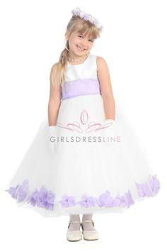 Satin & Tulle Flower Girl Dress with Lilac Petals & Sash G2570-LC $39.95 on www.GirlsDressLine.Com
