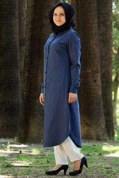 Nurgül Çakır Mavi Kot Meram Tesettür Tunik