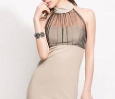 Sexy Gauze Paned Halter Dress For Club - Apricot on Luulla
