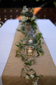 Naomi Rose Floral Design {Melbourne wedding} burlap table runner, lanterns, candles, trailing vine