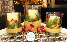 40 Attractive And Stylish Christmas Candle Decor Ideas Christmas Candle Centerpieces, Mini Christmas Tree Decorations, Christmas Candles, Table Centerpieces, Table Decorations, Christmas Ideas, Winter Decorations, Christmas Stuff, Winter Christmas