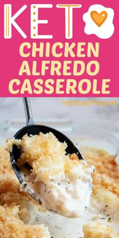 This easy keto casserole recipe will become your next favorite keto dinner recipe (low carb dinner recipe)! The whole family will love it whether they're on the keto diet or not. This keto chicken cas Chicken Alfredo Casserole, Keto Casserole, Casserole Recipes, Gluten Free Chicken Casserole, Low Carb Dinner Recipes, Delicious Dinner Recipes, Keto Dinner, Breakfast Recipes, Dessert Recipes
