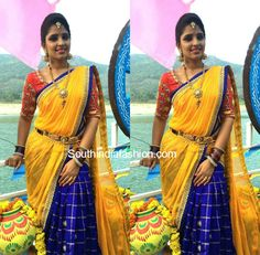 Anchor Syamala in an Ikat lehenga – South India Fashion Best Blouse Designs, Half Saree Designs, Lehenga Designs, Half Saree Lehenga, Saree Dress, Bridal Lehenga, Dress Lace, Saree Blouse, Dress Indian Style