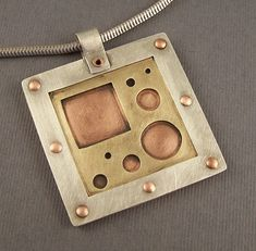 Sterling Silver, Brass and Copper Mixed Metal Mod Squares and Circles Pendant