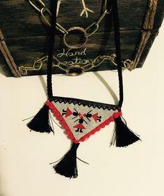 Necklace #soutache #crossstitch #fringe #romanianculture