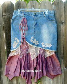 Upcycled denim skirt plus size 17/18 by MySassySkirt on Etsy, $35.00- cream lace = perfect