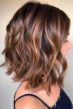 Balayage, Curly Lob Hairstyles - Shoulder Length Hair Cuts for Women and Girls Eyebrow Makeup Tips Brown Balayage, Balayage Lob, Brown Lob, Carmel Balayage, Short Balayage, Balayage Brunette, Blonde Ombre, Auburn Balayage, Ombre Bob