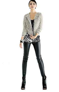 Hot New 1pcs New Style Women Girl Fashion Splendid Stretchy Faux Leather Panel Leggings BLACK