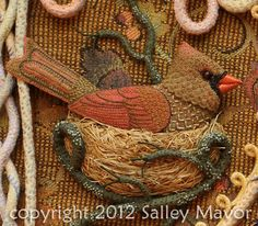cardinal female (detail) embroidered by SALLY MAVOR http://weefolk.files.wordpress.com/2012/09/cardinalfemalewm.jpg