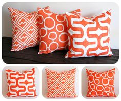 "You choose Orange pillow cover 16"" x 16"" One cushion cover Tangelo tangerine orange throw pillow. $16.00, via Etsy."