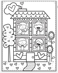 Valentine Coloring Pages, Preschool Coloring Pages, Coloring Book Art, Cute Coloring Pages, Disney Coloring Pages, Coloring Pages For Kids, Coloring Sheets, Adult Coloring, Toy House