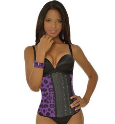 8168afd018 Purple Animal Print Long Workout Waist Trainer. BodyCinchers