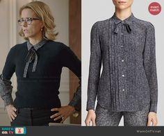Elizabeth's printed blouse with tie neck on Madam Secretary.  Outfit Details: http://wornontv.net/43558/ #MadamSecretary