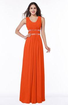 Tangerine Glamorous A-line Zip up Chiffon Sash Plus Size Bridesmaid Dresses