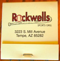 Rockwells - Tempe, AZ #matchbook To order your business' own branded #matchbooks and #matchboxes, go to www.GetMatches.com or call 800.605.7331 today!