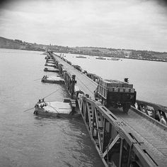 The Allied Campaign in Northwest Europe, 6 June 1944 - 7 May 1945 The Battle for Normandy: A lorry with supplies moving along the floating roadway which was one of the most valuable components of the Mulberry Harbour. A violent storm in the Channel between 19-21 June virtually wrecked the American harbour off St Laurent, but the British harbour remained usable.