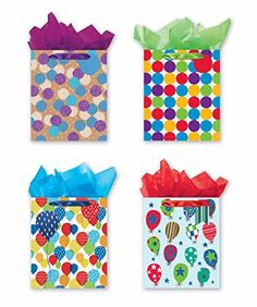 4 Large Party Gift Bags Birthday Gift Bags  Set of 4 Happy Birthday Gift Bags wTags  Tissue Paper * You can find more details by visiting the image link.Note:It is affiliate link to Amazon.