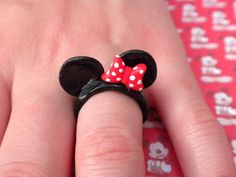 Minnie Mouse Ring from etsy $6.00 (@Leanne Stimers-Brown I wonder if they come in kids sizes. i will let you know)