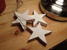 hanging wooden stars painted white - shabby chic style