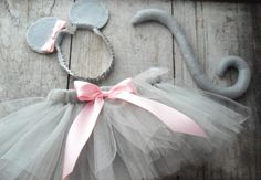 Mouse Halloween Costume Baby Size. $32.00, via Etsy.  This could be easily made.  Gray no see tutu, pink bow, mouse ears & tail.