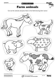 Farm animals for coloring and cutting