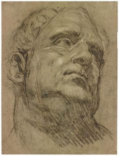 Portrait Drawing Jacopo Tintoretto - Jacopo Tintoretto Roman Head (So-Called Head of Emperor Vitellius), European Art, Portrait Drawing, Art Drawings, Art Masters, Master Drawing, Figure Drawing, Kathe Kollwitz, Portrait, Portrait Art