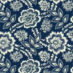 MONTERAY OD - INDIGO. Image: Calico Corners. #fabric #blue_and_white #floral