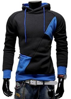 Stylish Hooded Simple Solid Color Buttons Design Slimming Long Sleeve Polyester Hoodie For Men Hoodies & Sweatshirts | RoseGal.com Mobile