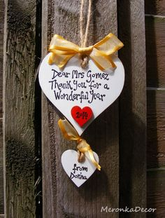 Gold- Thank you teacher gift - Nursery - Personalised Handmade Wooden Hearts