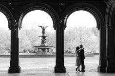 Romantic Silhouette at Bethesda Fountain in New York City Engagement Photo by Jessica Haley