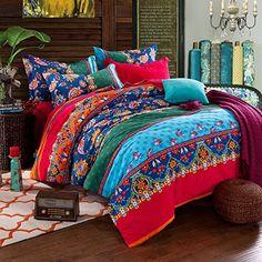 FADFAY 4-Piece Bohemian Bedding Boho Bedding Set Full Que...