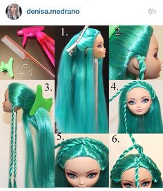 Vintage Hairstyles Tutorial Hairstyle tutorial by Denisa Medrano. Part 1 Doll Wigs, Bratz Doll, Ooak Dolls, Barbie Dress, Barbie Clothes, Diy Doll, Doll Crafts, Fix Doll Hair, Barbie Hairstyle