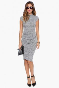Mocking Bird Midi Dress in Heather grey | Necessary Clothing
