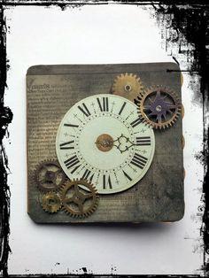 #Grußkarte #Uhr #Vintage #Steampunk #Zahnrad #VivelaVigo Steampunk, Notebook, Vintage, Clock, Cards, Notebooks, Vintage Comics, Steam Punk, Primitive