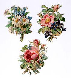 #Victorian #scraps  #ephemera #chromograph #lithograph #roses #floral (100 yr old die cuts)