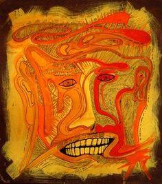 Linhas de expressão… O tempo deixa digitais no rosto as linhas de expressão marcam os olhos são autênticas as linhas que o tempo deixa a verdade de nossos sonhos por que apagá-las… Pintura s/ madeira – acrílica e nanquim 10/06/2009