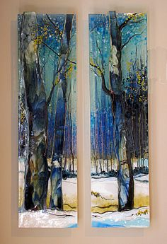 Guest Instructor: Alice Benvie-Gebhart - Diptych Landscape in Glass Janauary 2018 Glass Wall Art, Fused Glass Art, Stained Glass Art, Glass Fusing Projects, Oeuvre D'art, Sculpture Art, Sculpture Ideas, Artwork, Artist Profile