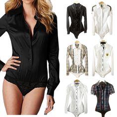 Wholesale lot Mix Match Bluk Botton Down Bodysuit Blouse OL Lady S-XL Jumpsuits