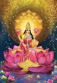 Gold Lakshmi Painting by Lila ShravaniYou can find Hindu art and more on our website.Gold Lakshmi Painting by Lila Shravani Indian Goddess, Goddess Lakshmi, Diwali Goddess, Krishna Art, Hare Krishna, Lakshmi Statue, Lakshmi Images, Lakshmi Photos, Religion