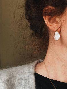 Keshi grande perle boucles doreilles pendantes perle drop