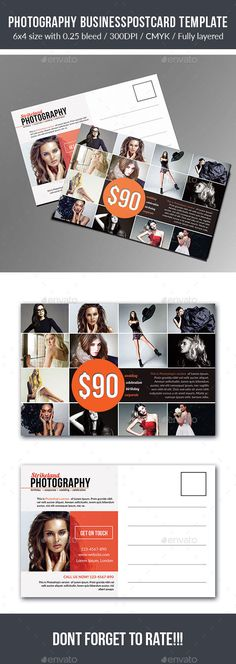 Buy Photography Postcard Template by Strikeland on GraphicRiver. This Photography Postcard Template is for you to minimize your work. The flyer's size is with Postcard Template, Postcard Design, Print Templates, Design Templates, Graphic Design Inspiration, Web Design, Photoshop, Card Book, Invitations