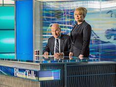"""Patrick Stewart as Walter Blunt and Jacki Weaver as Rosalie Winter in """"Blunt Talk"""" premiering August 22 at 9P on Starz"""